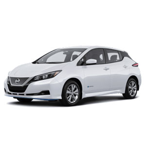 Nissan Leaf blanche devant 45