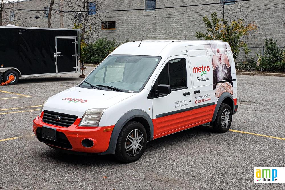 Habillage de véhicule - Camion Métro épicerie - Ford Transit Connect