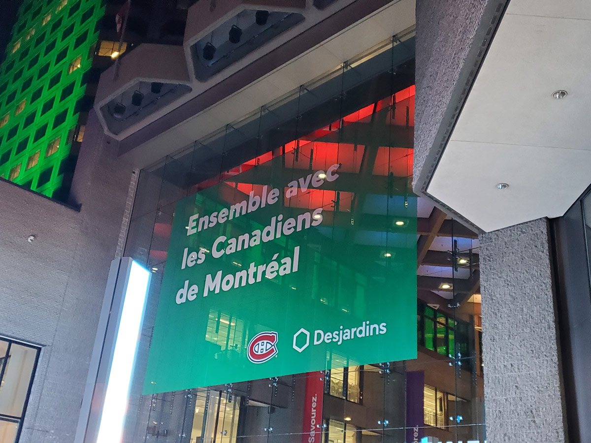 Complexe Desjardins window lettering